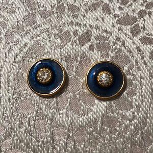 Rhinestone and Blue Enameled Earrings.